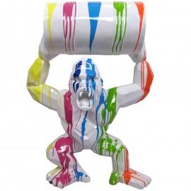 Gorille singe tonneau agressif statue multicolore fond blanc en origami 95 cm
