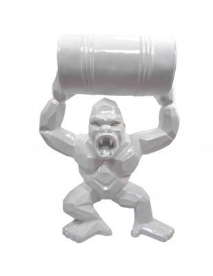 Gorille singe  tonneau agressif statue couleur blanche en origami 95 cm