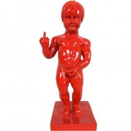 Statue en résine rouge le célèbre Manneken-Pis doigt d'honneur 35 cm