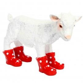 Statue en résine d'un agneau en bottes rouge 40 cm
