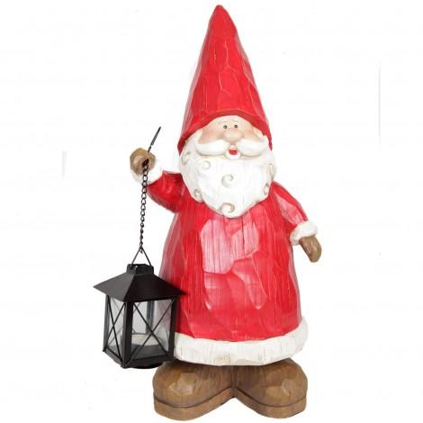 Statue père noël en résine avec lanterne porte bougie 45 cm
