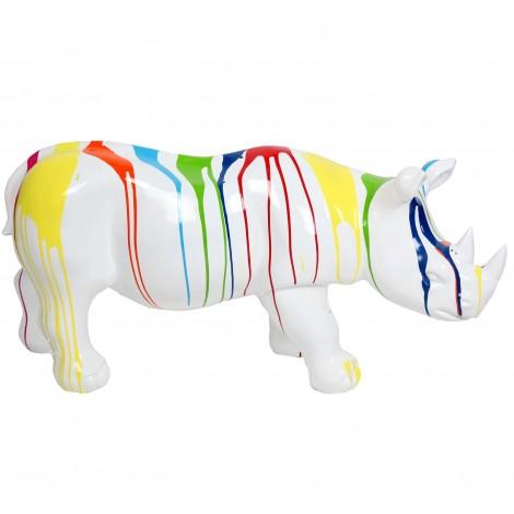 Statue rhinocéros multicolore fond blanc en résine - 100 cm