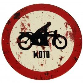 PLAQUE tôle publicitaire en fer interdit moto - 30 cm