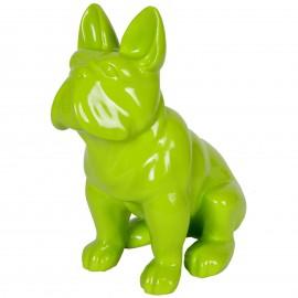 Statue en résine chien bouledogue Français assis vert - 40 cm