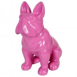 Statue en résine chien bouledogue Français assis fuchsia - 40 cm
