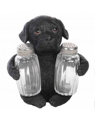 Service à condiments sel et poivre chien labrador noir - 14 cm