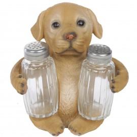 Service à condiments sel et poivre chien labrador marron - 14 cm