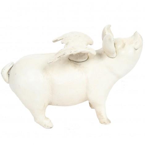 Tirelire statue cochon blanc ailé en fonte - 26 cm