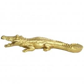 Statue en résine crocodile doré gueule ouverte - 70 cm