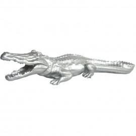 Statue en résine crocodile argent gueule ouverte - 70 cm