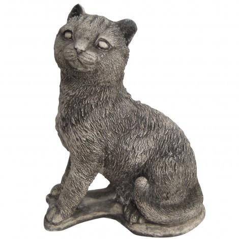 Statue en béton chat assis 22 cm