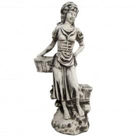 Statue jardinière en béton femme au deux paniers 52 cm