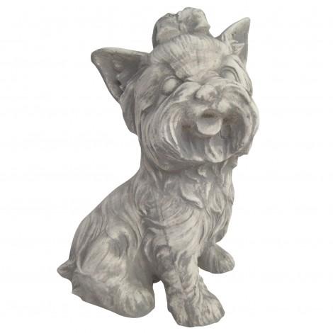 Statue en béton chien Yorkshire assis 26 cm