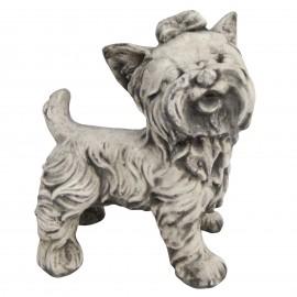 Statue en béton chien Yorkshire debout 25 cm