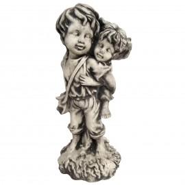 Statue en béton garçon et petite fille joueurs 48 cm