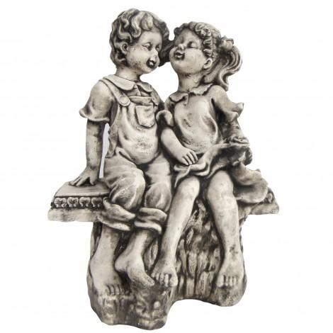 Statue béton représentant un garçon et une fille rose a la main 40 cm