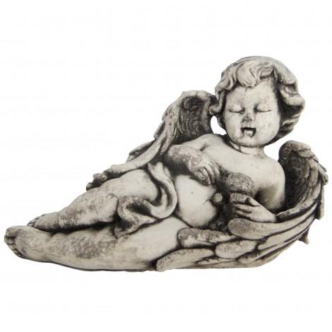 Statue en béton ange et son ours 21 cm