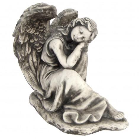 Statue en béton garçon et petite fille rose a la main 27 cm