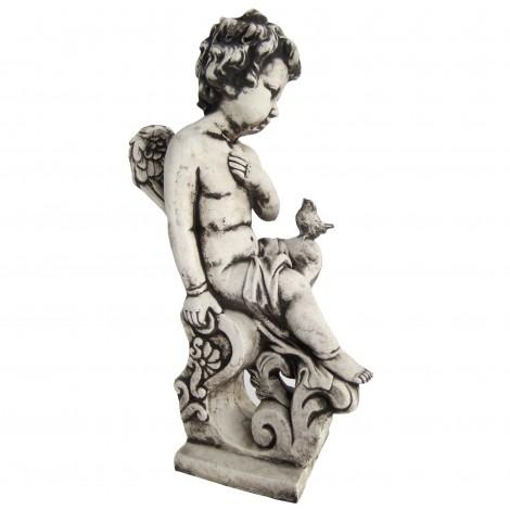 Statue en béton ange et l'oiseau 47 cm