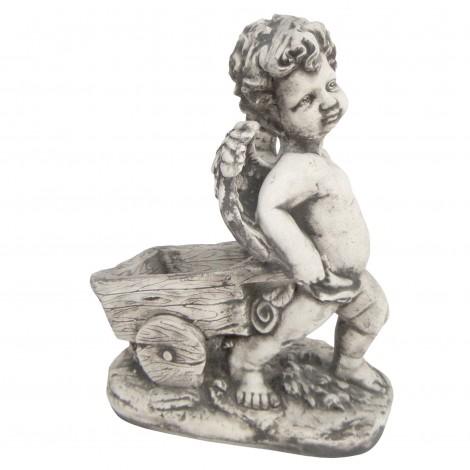 Statue en béton ange a la jardinière brouette 37 cm