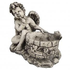 Statue en béton jardinière ange et la grenouille sur le puits 34 cm