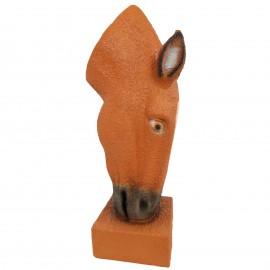 Jardinière en résine statue tête de cheval de couleur naturel 75 cm