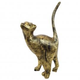 Statue en résine CHAT origami patine dorée antique - 46 cm