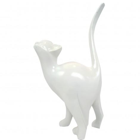 Statue en résine CHAT origami blanc - 46 cm