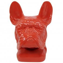 Statue tête de chien rouge en résine bouledogue français - 37 cm
