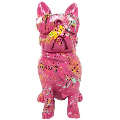 Statue chien bouledogue Français à lunette multicolore en résine fond fuchsia - 37 cm