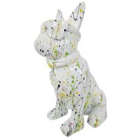 Statue chien bouledogue Français à lunette multicolore en résine fond blanc  - 37 cm