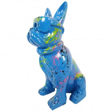 Statue chien bouledogue Français à lunette multicolore en résine fond bleu - 37 cm