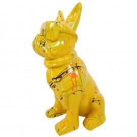 Statue chien bouledogue Français à lunette multicolore en résine fond jaune - 37 cm