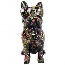 Statue chien bouledogue Français à lunette multicolore en résine fond noir  - 37 cm