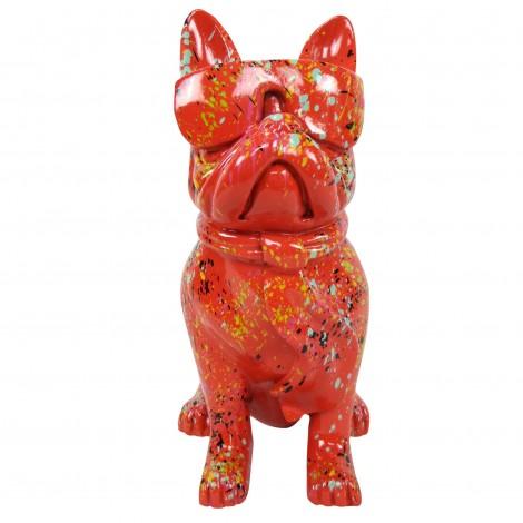 Statue chien bouledogue Français à lunette multicolore en résine fond rouge - 37 cm
