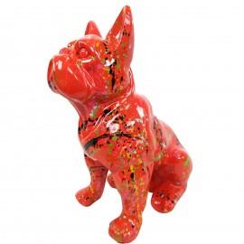 Statue en résine bouledogue Français assis multicolore fond rouge - 31 cm