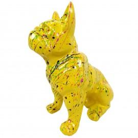 Statue en résine bouledogue Français assis multicolore fond jaune - 31 cm