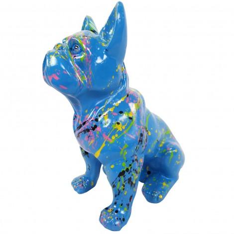Statue en résine bouledogue Français assis multicolore fond bleu - 31 cm