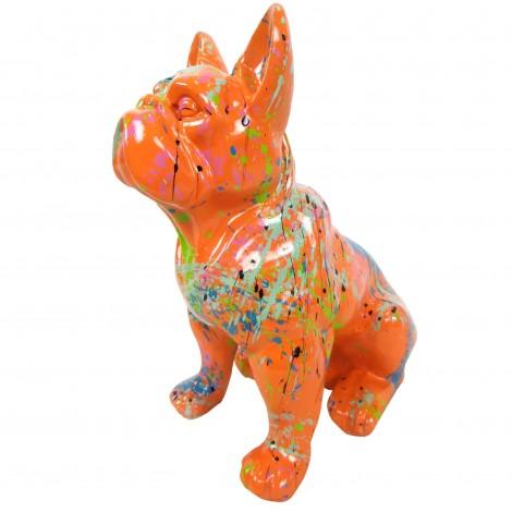 Statue en résine bouledogue Français assis multicolore fond orange - 31 cm