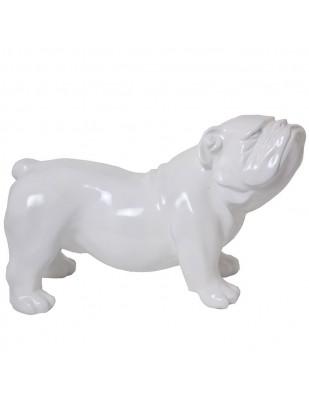 Statue en résine CHIEN bouledogue anglais blanc aspect poil - 60 cm
