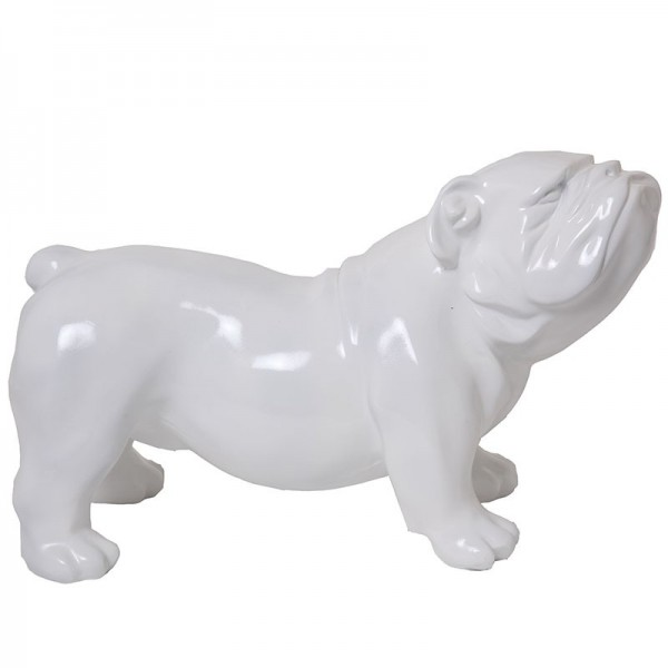 statue en r sine chien bouledogue anglais blanc aspect lisse 60 cm. Black Bedroom Furniture Sets. Home Design Ideas