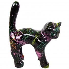 Statue chat en résine que droite multicolore fond noir ( jojo ) 35 cm