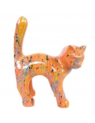 Statue chat en résine queue droite multicolore fond orange 35 cm