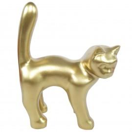 Statue chat en résine queue droite doré 35 cm
