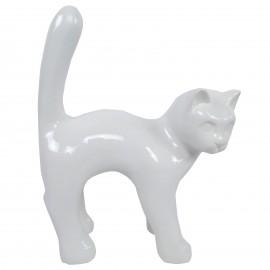 Statue chat en résine queue droite blanc 35 cm