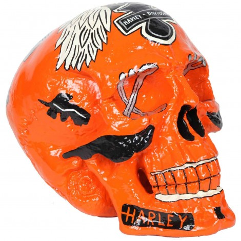 Statue tête de mort Harley Davidson en résine 70 cm