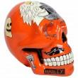 Statue tête de mort style Harley Davidson en résine 45 cm