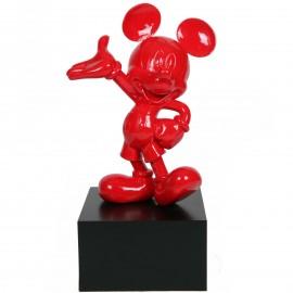 Statue en résine Mickey de couleur rouge 80 cm