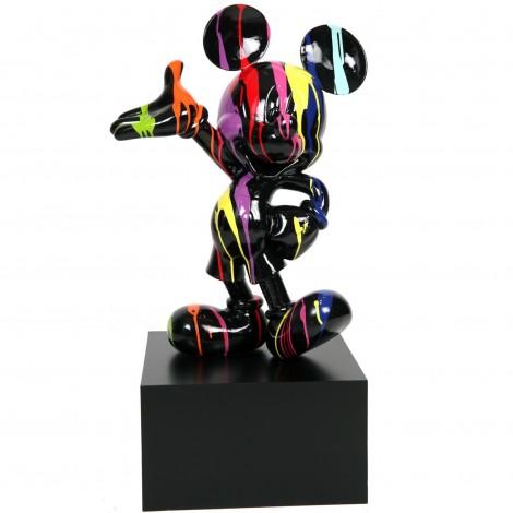 Statue en résine Mickey multicolore fond noir 80 cm