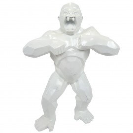 Statue origami en résine gorille singe donkey kong blanc 40 cm